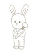 Cute cartoon bunny for coloring book