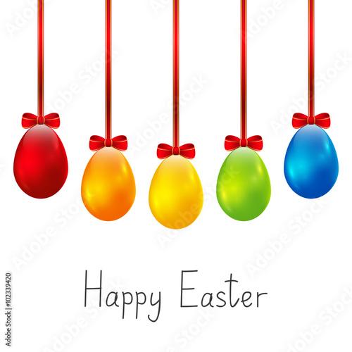 Fototapeta Color Easter eggs on white background
