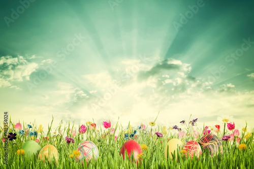 Easter Vintage Background with Eggs and Flowers