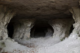 stone cave inside. view near the entrance