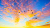 Ducks flying during a sunset - 102363488