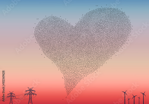 Flock of birds heart, vector Poster