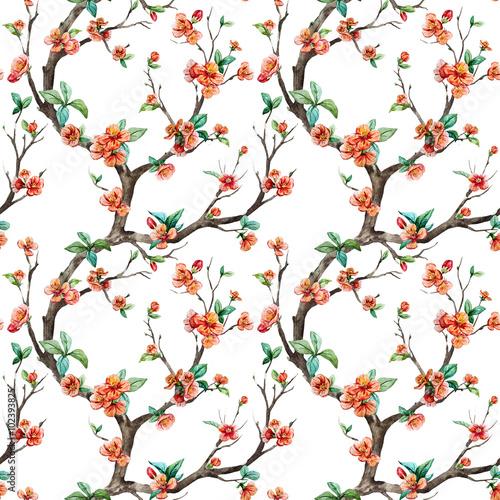 Fototapeta Watercolor raster sakura pattern