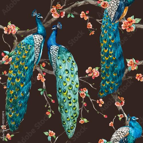 Watercolor raster peacock pattern - 102393874