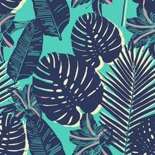 Motif bleu Palm Tropical feuille transparente