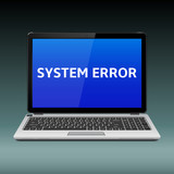 Laptop with system error message on blue screen