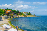 view of riverside of bulgarian coastal holiday town nessebar.