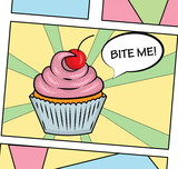 Fototapety Pop art style sweet delicious cupcake illustration with icing, cream and cherry. For poster, web, print.