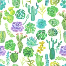 Watercolor cactus and succulent seamless pattern