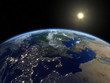 Earth from satellite. Beautiful sunrise over Europe. Earth at night and in daytime. 3D realistic illustration.