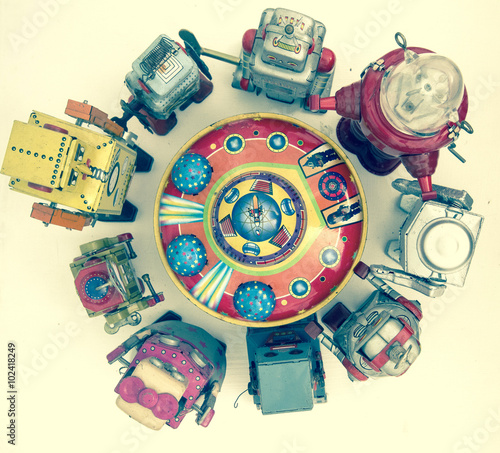 Foto op Canvas group of robot toys