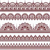 Mehndi, Indian Henna tattoo brown seamless pattern, design elements - 102419236