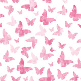 Seamless watercolor pink butterflies pattern