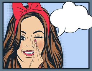 Pop Art illustration of girl with the speech bubble.Pop Art girl