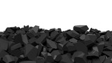Pile of shattered black pieces of stone, isolated on white with copy-space