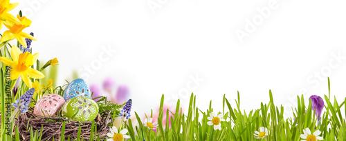 Dekorujący Wielkanocni jajka w wiosny łące