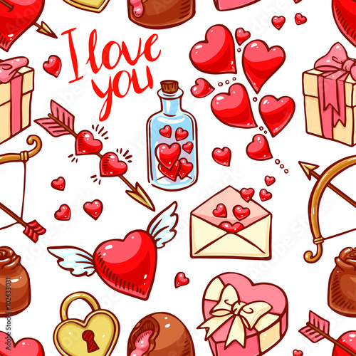 Cotton fabric Valentine's Day seamless background