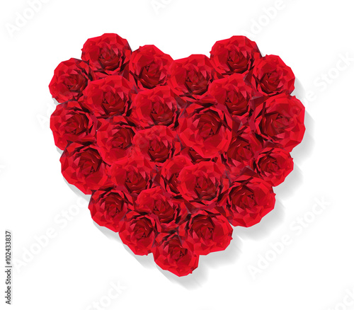 Staande foto Roses Valentines Day Heart Made of Rose abstract isolated on a white backgrounds