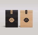Fototapety brown and black paper packaging set mock up .  coffee shop and restaurant.