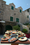Platers with various salads and seafood - Dalmatian cuisine specialties, Dalmatia, Croatia - 102445276