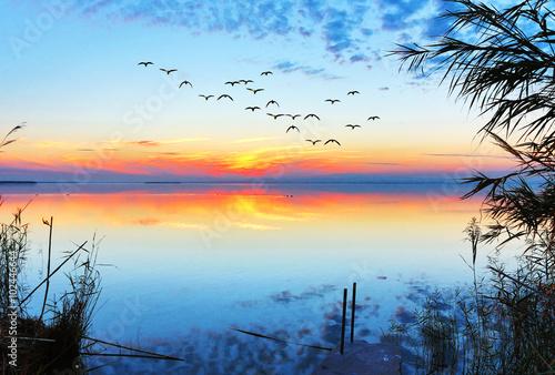 Poster amanecer azul en el mar