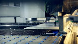 Metal bending machine on a modern industrial factory. HD.