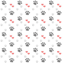 repeating pattern with grey paw print and coral hearts on white background