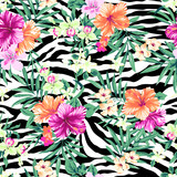 Tropical flowers over zebra print ~ seamless background