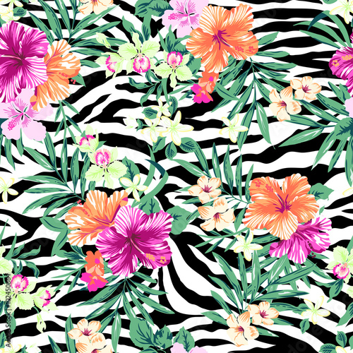 Tropical flowers over zebra print ~ seamless background - 102450864