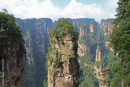 Poster Famous Zhangjiajie National Forest Park in Hunan Province, China.