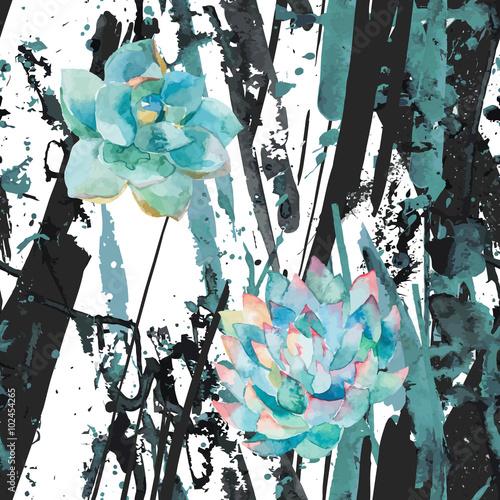 akwarela-sukulenty-i-paski-streszczenie-niebieskie-plamy-splatter-plamy-linie-tlo-modny-modernistyczny-wzor