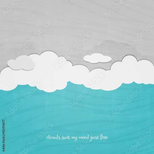 cartoon style clouds and blue sky over paper texture. vector presentation banner design. environment concept template © metrue