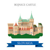 Bojnice Castle in Slovakia flat vector attraction sight landmark