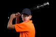 Baseball player to bat preparing to strike
