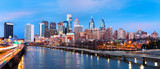 Philadelphia skyline panorama at dusk.  Schuylkill expressway traffic runs parallel to Schuylkill river. - Fine Art prints