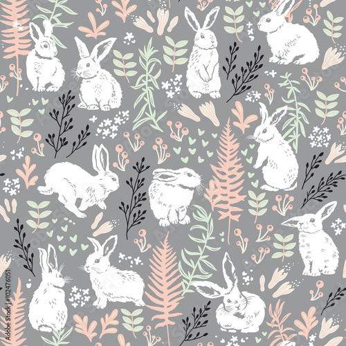 Cotton fabric Floral pattern with white hares