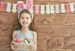 girl wearing bunny ears