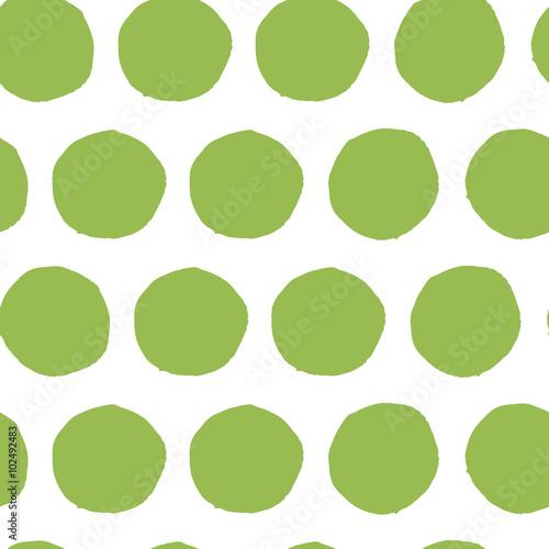 Hand painted seamless polka dot pattern. Abstract green fresh organic background. © Tatiana Kuzmina