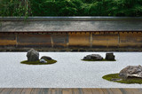 rock garden of Ryouanji temple in summer, Kyoto Japan.