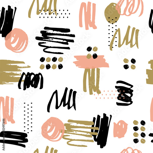 Vector seamless pattern. Made with ink. - 102497646