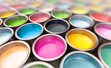 Fototapety paint buckets with focus on cmyk paint