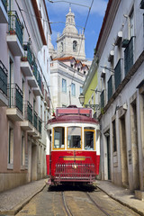 Lisbon. Image of street of Lisbon, Portugal with historical tram. © rudi1976