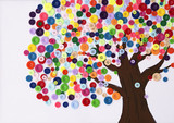 Fototapety Children's craft of a tree made of buttons