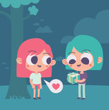Cute Couple Trading a Present Under a Tree