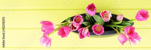 Zdjęcia na płótnie, fototapety, obrazy : tulpen in einer vase von oben