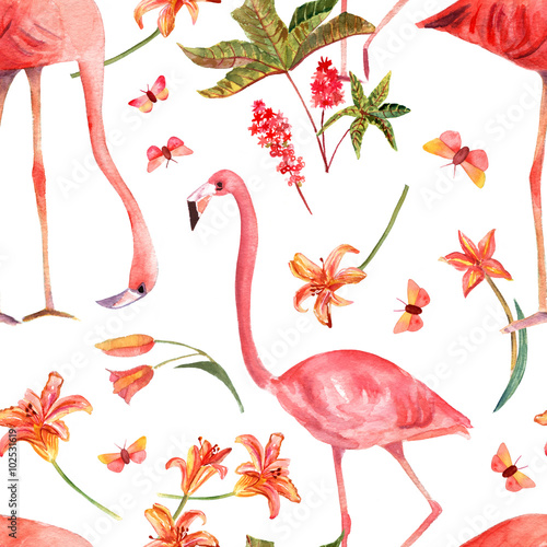 Seamless background pattern with vintage watercolor flamingo bird - 102531619