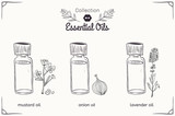 Fototapety A set of essential oils in black and white style: mustard, onions, lavender.