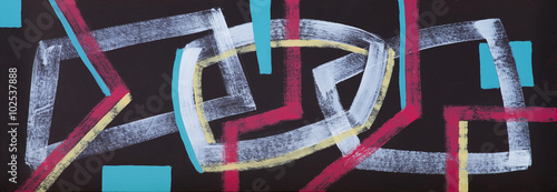 An abstract painting; Interlocking Shapes on a Black Background, Elongated - 102537888