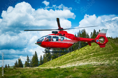 obraz lub plakat Helicopter takeoff in the mountains