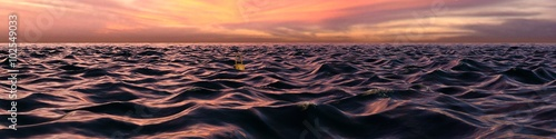 Aluminium Zwart Pink Sunset Panorama Over Ocean Waves